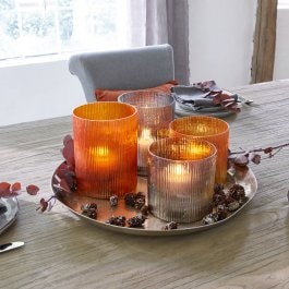 Windlicht 4er Set Moyen orange/grau