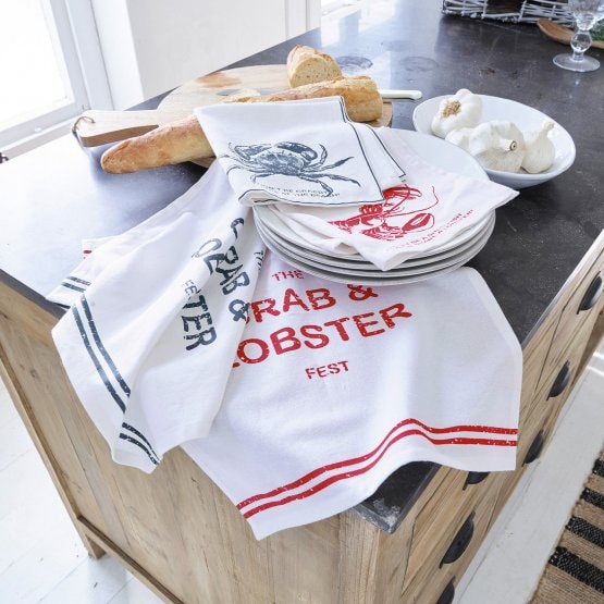 Serviette 4er Set Lobster weiss